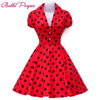 2018 Summer Women Dress Polka Dot Big Swing Vestidos Retro Robe Casual Prom Rockabilly Party Dress 50s 60s Pinup Vintage Dresses