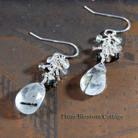 Tourmalinated Quartz Faceted Briolette Earrings with Sapphire Rondelles Sterling Silver