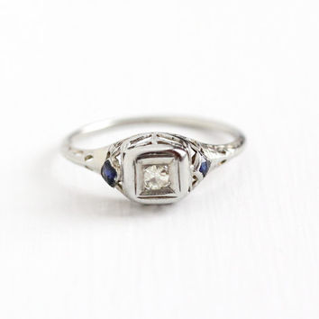 Antique 18k White Gold Diamond & Blue Sapphire Ring - Vintage Size 6 Art Deco 1920s Size 6 Filigree Dainty Engagement Wedding Fine Jewelry