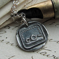 """Italian motto Wax Seal Charm """"Protect Yourself"""" Antique wax seal necklace in fine silver- from the snakes in the grass"""