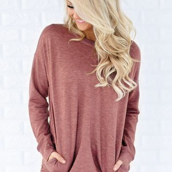Pocket Sweater - Rust Red