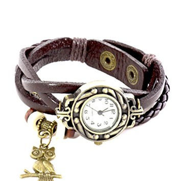 Watch Bracelet Beaded Owl Charm Brown Leather Gold Tone WA03 Vintage Braided Snap Cuff Fashion Jewelry