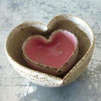 pair of miniature ceramic heart bowls by JDWolfePottery on Etsy