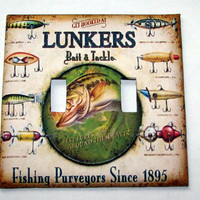 Double Light Switch Cover - Light Switch Lunkers Lures Fishing Bait & Tackle