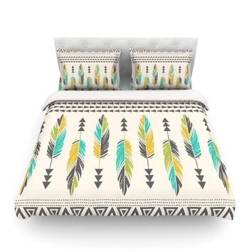 "Amanda Lane ""Painted Feathers Cream"" Tan Tribal Featherweight Duvet Cover"