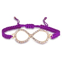 Purple infinity thread bracelet