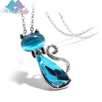 Miss Lady New 2017 Gold color Rhinestone Crystal Bow Lovely Cat Necklaces Pendants Fashion Jewelry for women MLK1117
