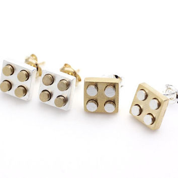 Gold and Silver Lego Block stud earrings in Gold/Silver - geometric jewelry