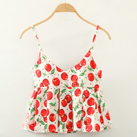 Red Spaghetti Strap Cherry Print Crop Top