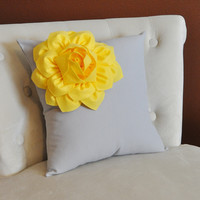 Decorative Pillows Yellow Corner Dahlia on Gray Pillow for Couch 14 X 14 - Throw Pillow - Yellow and Gray Home Decor -