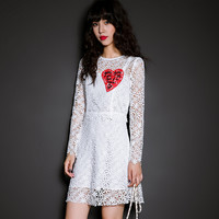 White Heart Letter Print Lace Long-Sleeve Dress