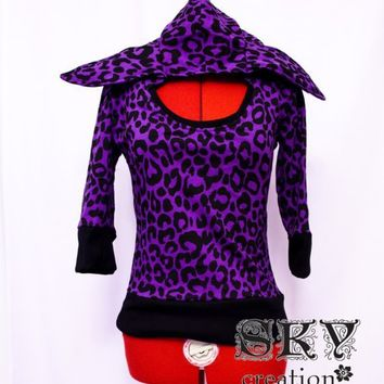 Purple Leopard Hoodie with Bunny Ears XSS by skycreation on Etsy
