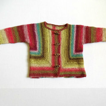 Knit Baby Cardigan, Striped Baby Sweater, OOAK Baby Jacket, Noro Baby Cardigan,  18 Mo Baby Sweater, Green Pink Blue Sweater, Spring Sweater