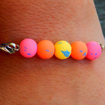 Bright, Bold Colors Bracelet, rubber coated beads, colorful jewelry - pink, yellow, orange  christmas - easter basket filler - Stackable