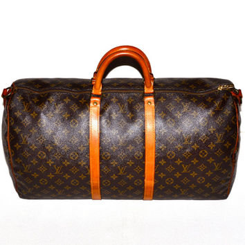 Make an Offer LOUIS VUITTON Keepall 55 Duffel Bag Large LV Monogram Weekend Travel Carry On Tote Unisex Guaranteed Authentic Bandouliere