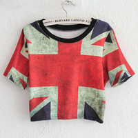 The Union Flag Print Short Sleeve Graphic Cropped T-Shirt
