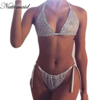 2017 Summer bodysuits for women Sexy party sequins jumpsuits rompers Ladies 2 pieces tie up bodycon playsuits drop shipping