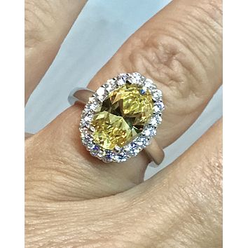 SALE A Perfect 3.5CT Oval Cut Canary Yellow Fancy Russian Lab Diamond Engagement Halo Ring