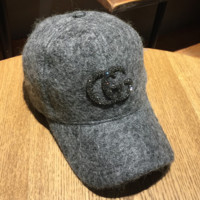 GUCCI men and women thickened wild couple hip-hop hat diamond lettering wool baseball hat Diamond letters GG light gray