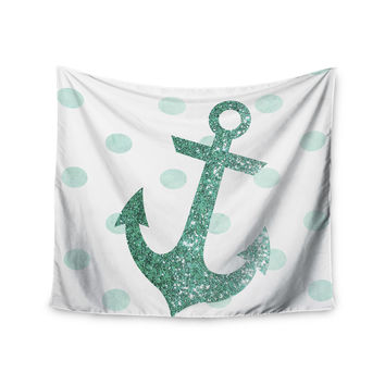"Nika Martinez ""Glitter Anchor in Mint"" Teal Wall Tapestry"