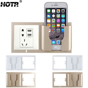 Fashion Socket Wall Phone Holder Home Charging Storage Box Stand Bracket Mobile Phone Holder Wall Shelf Stand Mount Support