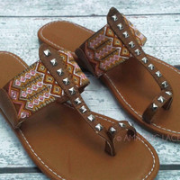 Davidson Aztec Tribal Brown Flat Sandals