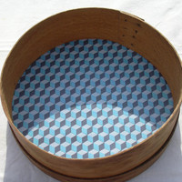 Vintage wooden sieve wall ornament home decor blue squares design