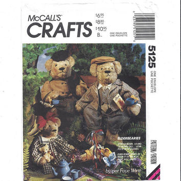 McCall's 5125 Crafts Pattern for Elderbearies Stuffed Teddy Bear Dolls, Clothes, Bag, Faye Wine, From 1990, Vintage Pattern, Home Sew Crafts