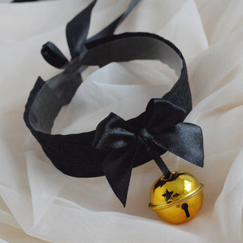 Morning star - cute black and gold choker with big bell - cosplay lolita kitten pet play neko girl dd/lg collar