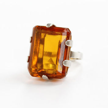 Vintage Sterling Silver Simulated Citrine Ring - Huge Orange Yellow Glass Stone Emerald Cut Adjustable Size Statement Chunky Jewelry