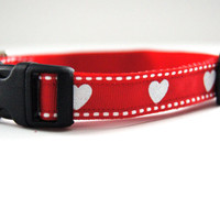 Red Valentine's Dog Collar Adjustable Sizes (XS, S, M)