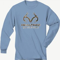 Realtree Outfitters Youth Blue Long Sleeve Camo Logo Shirt