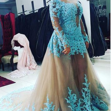 Fashion removable skirt Long Sleeve Lace Appliques prom Dresses 2016 Floor Length Backless Turkish prom Gowns