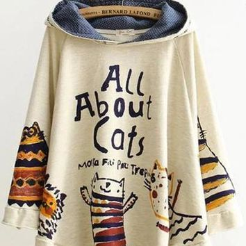 Johnature 2019 New Autumn And Winter Hoodies Hooded Loose Print Cat 2 Colour Kawaii Japan Style Tops Cute Warm Hoodies
