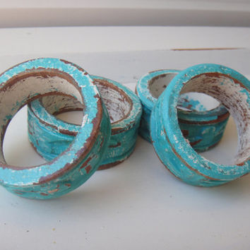 Set of 4 Shabby Chippy Napkin Holders Cozumel Turquoise Wooden Beach Table Distressed - White Undertones Carved Wood Chalk Paint
