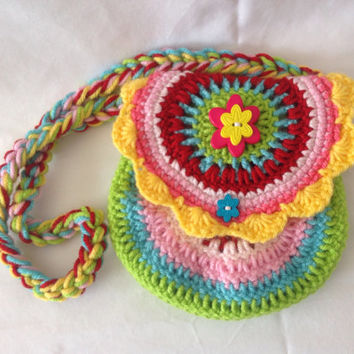 Crochet bright purse small purse colorful purse toddler bag little girl purse small hand bag