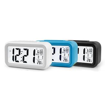LCD Display Digital Alarm Clock Time Snooze Function Electronic