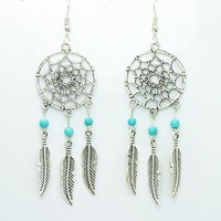 Vintage silver plated Dream catcher drop dangle earring gift for MOM!!!