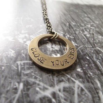 Close Your Eyes and Jump // Inspirational Jewelry // Courage // Personalized Name, Initial // Quote Jewelry // Word // Faith, Adventure