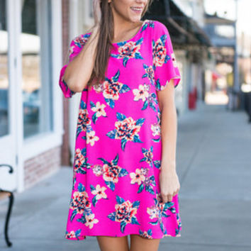 Hot To Trot Floral Dress, Fuchsia
