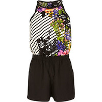 River Island Girls black and floral print Romper