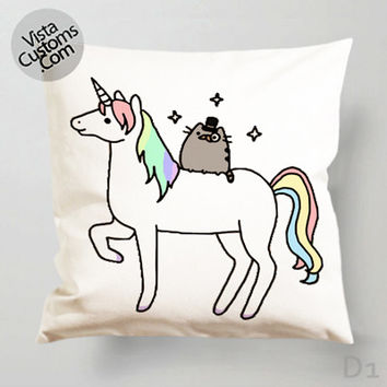 Pusheen Cat With Unicorn Pillow Case, Chusion Cover ( 1 or 2 Side Print With Size 16, 18, 20, 26, 30, 36 inch )