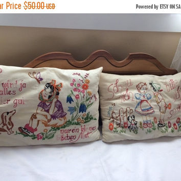 Vintage Hand Embroidered Pillows with German Sayings