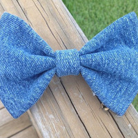 Denim Hair Bow by DenimAndStuds on Etsy