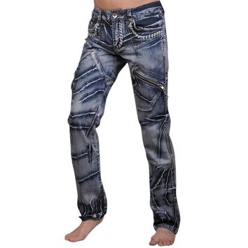 New Men's Designer Dragon Printing Denim Jeans