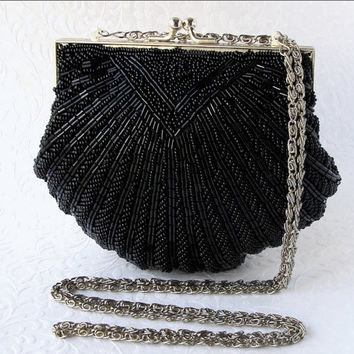 Vintage WALBORG Black Beaded Purse Jet Glass Bead Handbag Shell Clutch Gold Frame Long Shoulder Strap Formal Evening Bag Bridal Wedding Prom