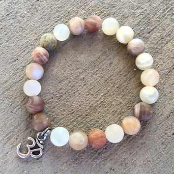 Independence and Peace, Matte Sunstone Mala Bracelet with Om Charm