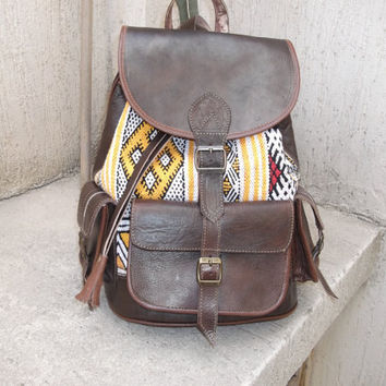 Moroccan Leather kilim Backpack Rucksack back bag soulder vintage purse travel bag shoulder women men bag