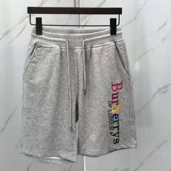 Burberry 2018 new shorts rainbow embroidery upper body perfect knee version couple shorts F-CN-CFPFGYS grey