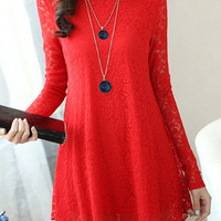 Scoop Neck Long Sleeves Red Lace Dress
